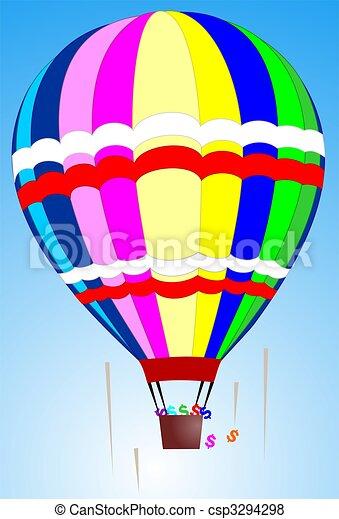 hot air balloon landing with dollar - csp3294298