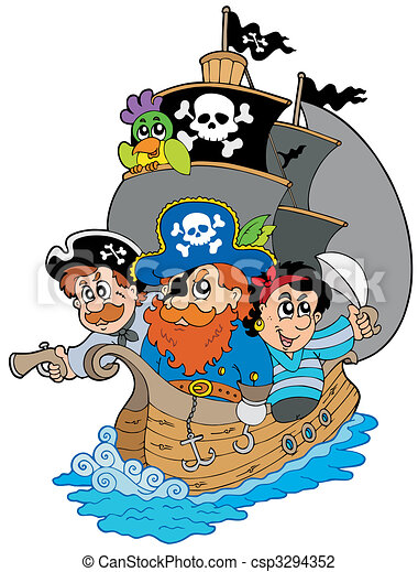 Ship with various cartoon pirates - csp3294352
