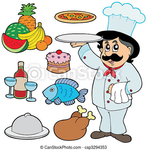 Cartoon chef with various meals - csp3294353