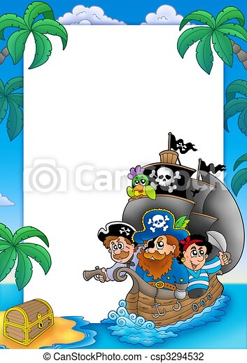 Frame with sailboat and pirates - csp3294532