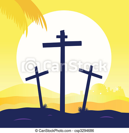 Jesus crucifixion - calvary scene with three crosses - csp3294686