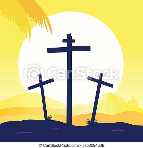 Jesus crucifixion - calvary scene with three crosses - csp3294686