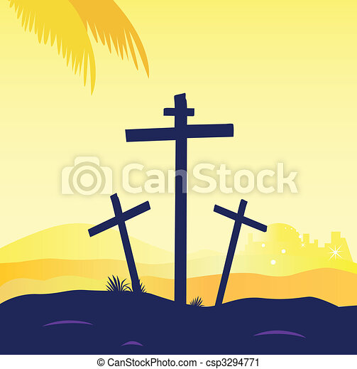 Jesus crucifixion - calvary scene with three crosses - csp3294771