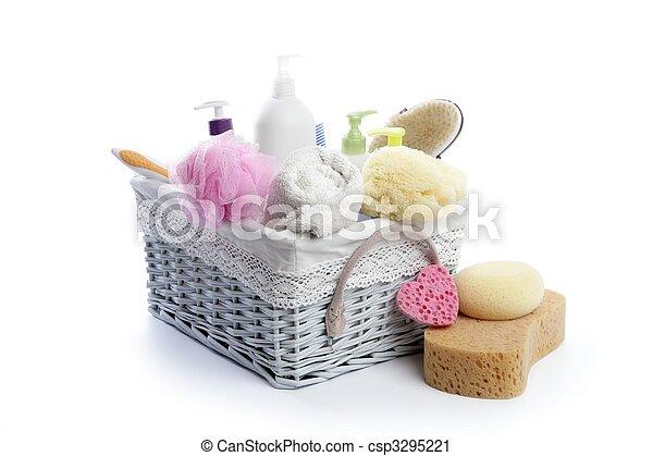 Toiletries stuff sponge gel shampoo towels - csp3295221