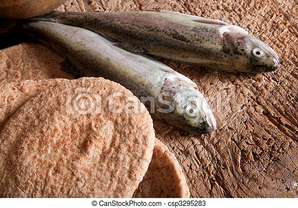 Fish and bread - csp3295283