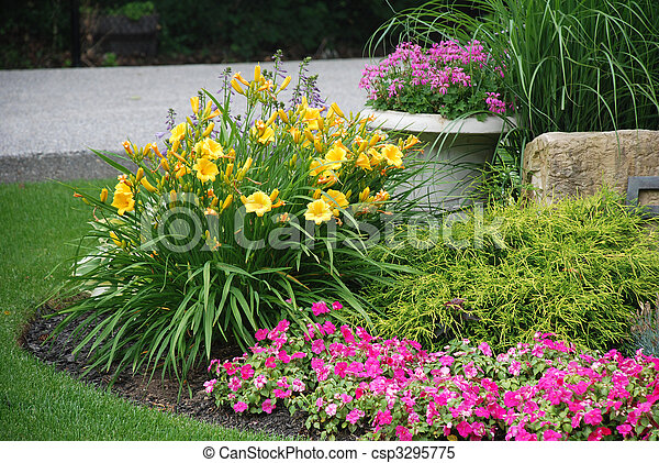 Landscaped flower garden - csp3295775