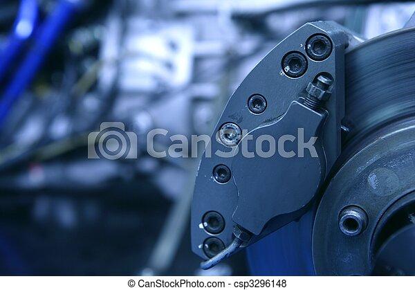 Disk brakes macro detail with engine  - csp3296148