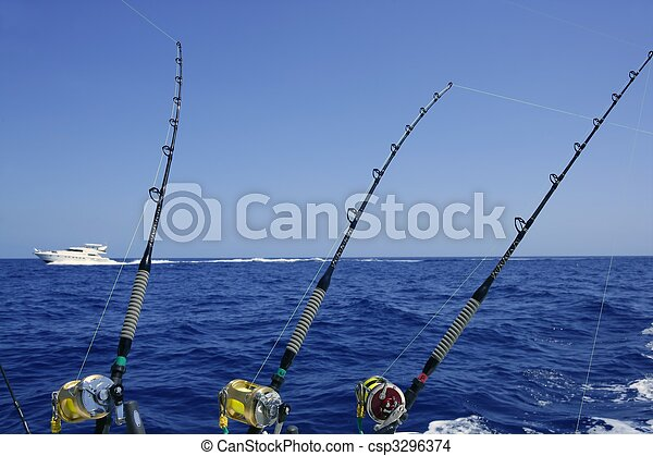 Stock Photo - Blue sea and sky in a big game tuna fishing day - stock ...