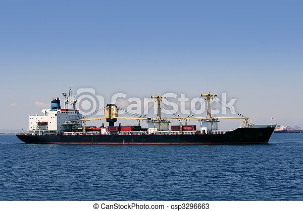 Cargo container freighter ship sailing in Mediterranean sea - csp3296663