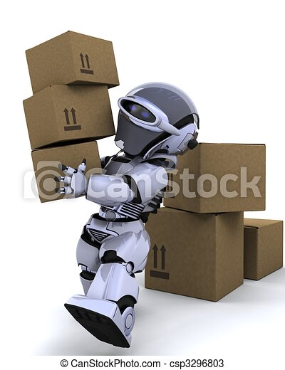 robot moving shipping boxes - csp3296803