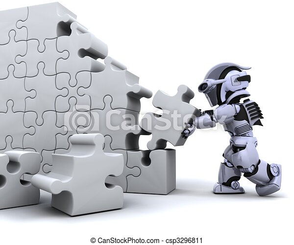 robot solving jigsaw puzzle - csp3296811