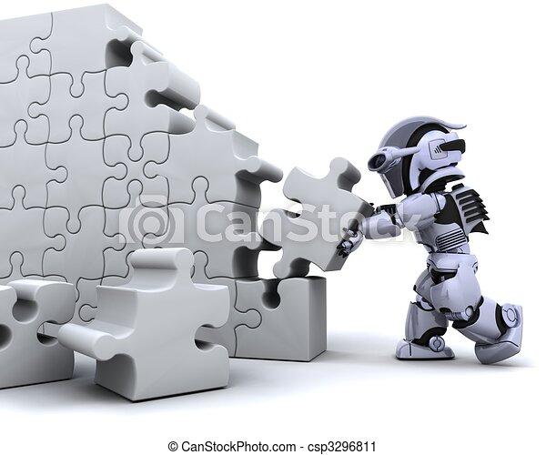 robot solving jigsaw puzzle - csp3296811