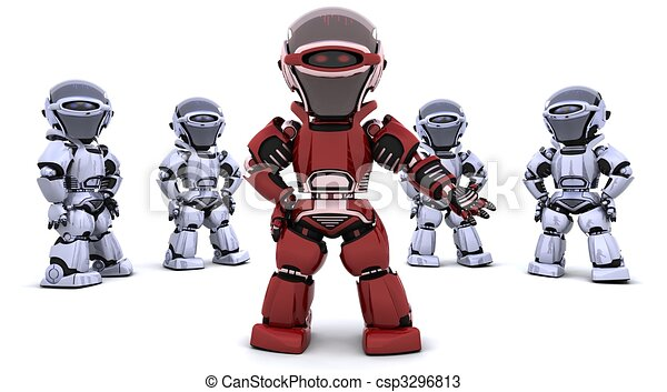 red robot leading a team - csp3296813