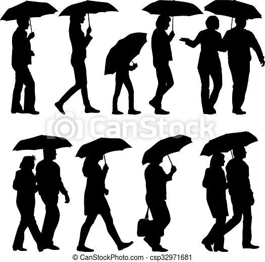 vecteur de femme parapluie silhouettes vecteur noir sous csp32971681 recherchez des. Black Bedroom Furniture Sets. Home Design Ideas
