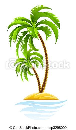 tropical palm on island - csp3298000
