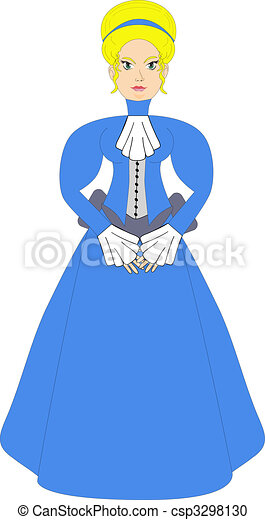 Stock Illustration of Victorian Woman In Blue - Victorian lady in ...