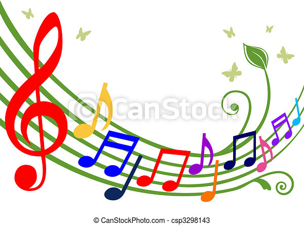 Colorful musical notes - csp3298143