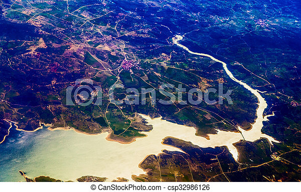 cidade, aéreo, vista - csp32986126