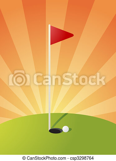 Golf course illustration - csp3298764