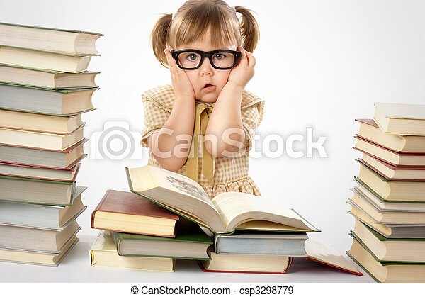 Little girl with books wearing black glasses - csp3298779