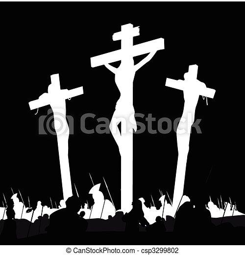 Crucifixion calvary scene in black and white - csp3299802