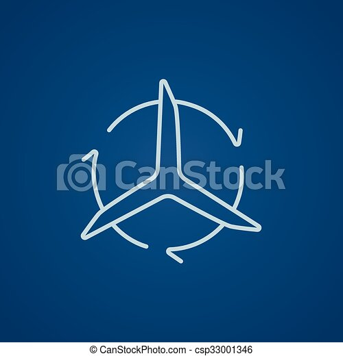 Windmill with arrows line icon. - csp33001346