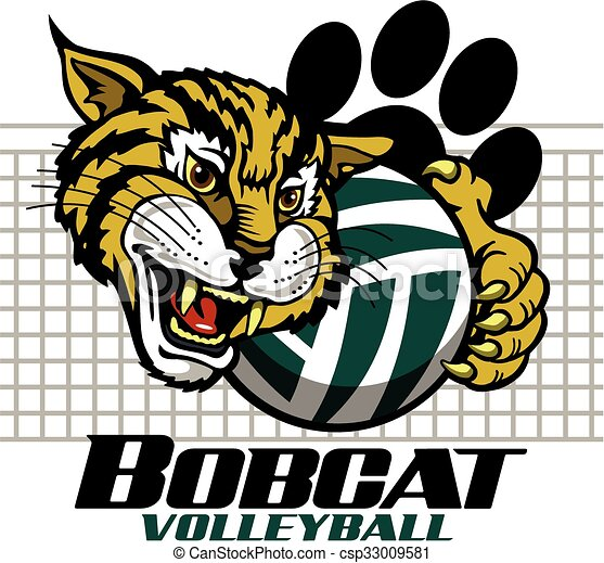 vector of bobcat volleyball team design with mascot and paw print for csp33009581 search Wildcat Claw Clip Art Husky Paw Print Clip Art