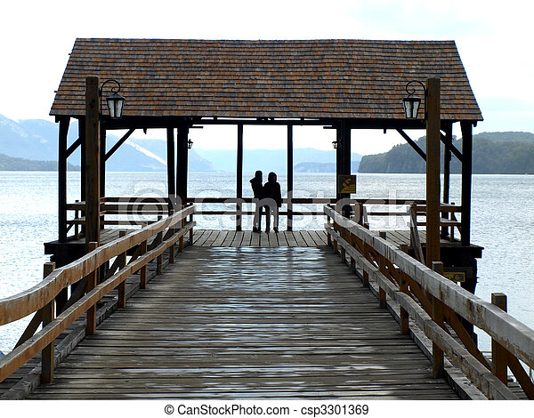 couple on the landing stage - csp3301369