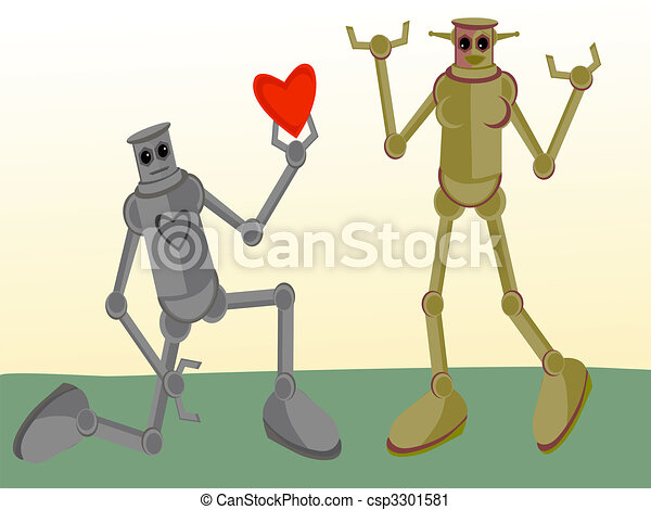 Male Robot giving his heart to Female Robot - csp3301581
