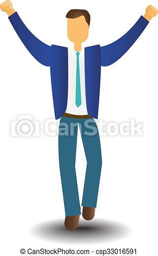 EPS Vectors of Business Man Icon Excited Hold Hands Up Raised Arms ...