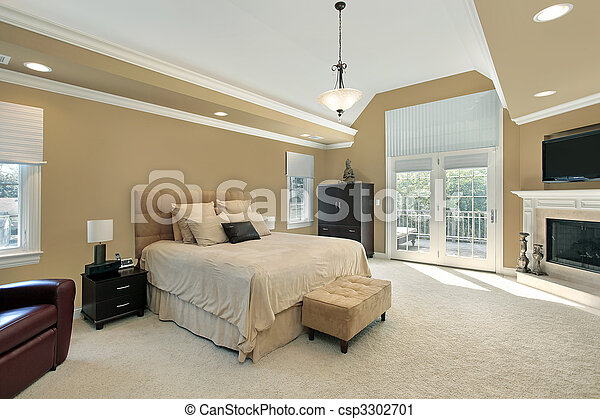 Master bedroom with fireplace - csp3302701