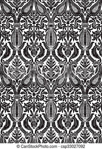 Vector seamless damask pattern - csp33027092