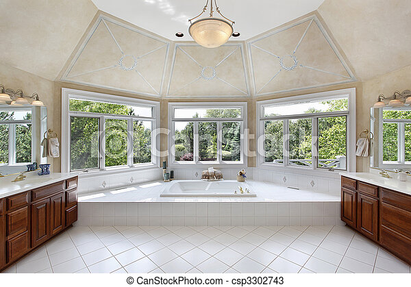 Master bath with windowed tub area - csp3302743