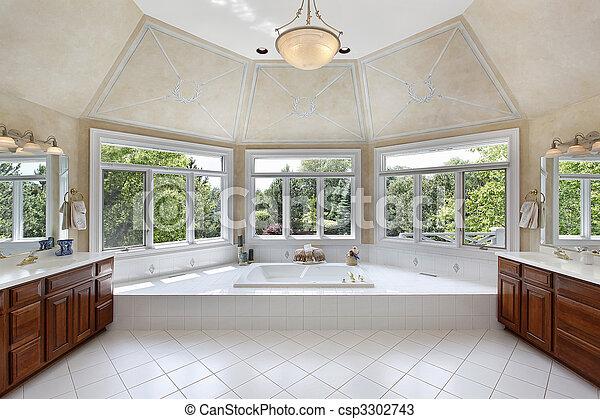 Master bath with windowed tub area - csp3302743