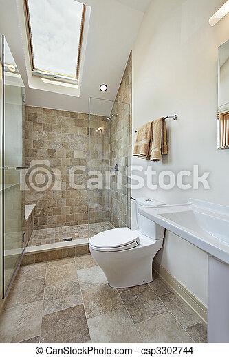 Stock Foto   Badezimmer, Dachgeschoss, Dachfenster