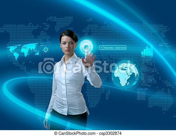 Future business solutions businesswoman in interface - csp3302874