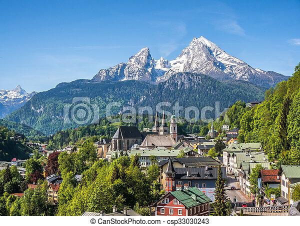 Historic town Berchtesgaden with Watzmann mountain in spring, Bavaria, Germany - csp33030243