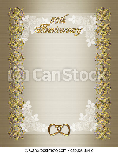 50th wedding anniversary invitation template background border with gold