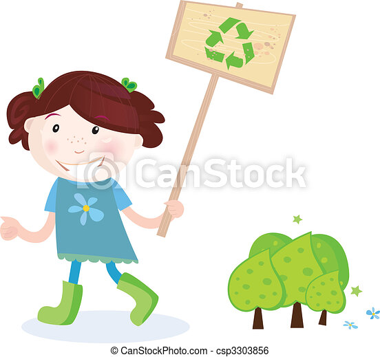 School girl support recycling - csp3303856