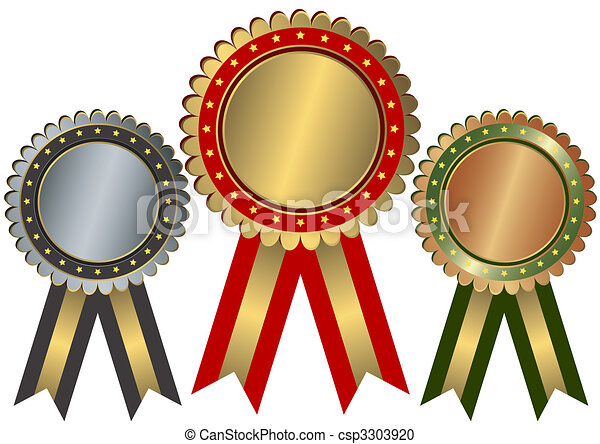 Gold, silver and bronze awards (vector) - csp3303920