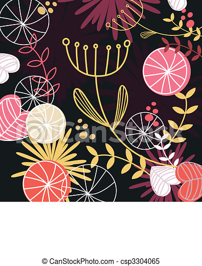 Retro floral pattern background - csp3304065