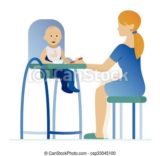 Clipart vecteur de chaise haute alimentation enfant - Quand mettre bebe dans une chaise haute ...