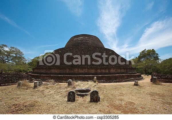 Ancient Buddhist dagoba (stupe) Pabula Vihara.  Sri Lanka - csp3305285