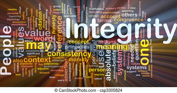 Integrity principles background concept glowing - csp3305824