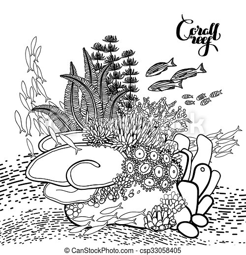Vector Clipart Of Coral Reef Design In Line