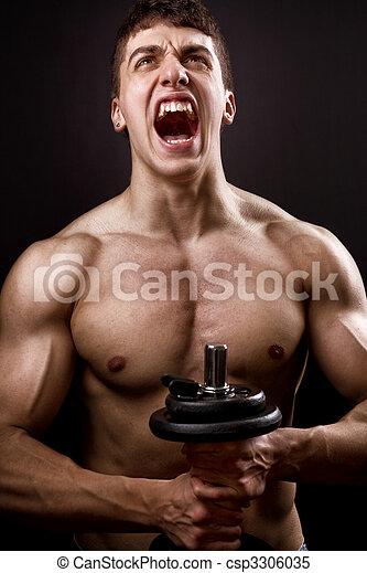Scream of powerful muscular bodybuilder - csp3306035