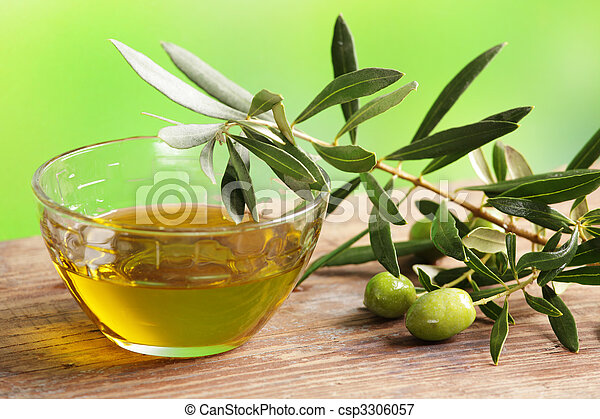 Olive oil with olive branch - csp3306057