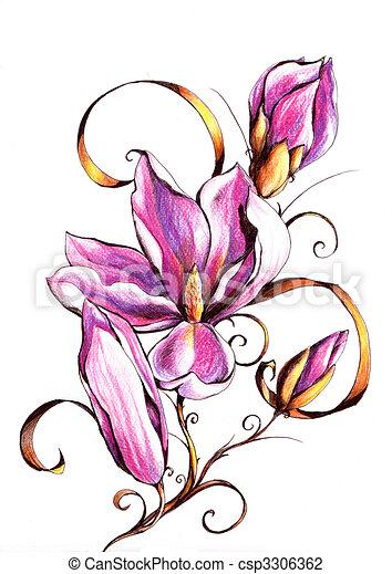 Clipart di magnolia fiore su ramo immagine io for Disegni di fiori a matita