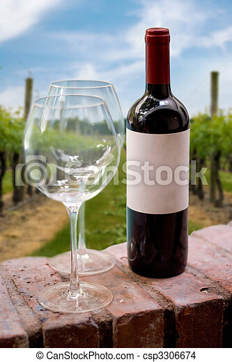 Vineyard Wine Bottle - csp3306674