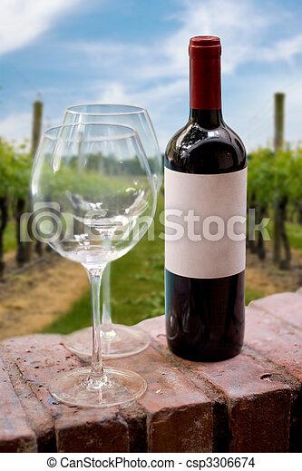 Vineyard Wine Bottle - csp3306674